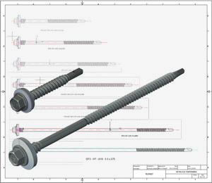 DrillFast carbon steel fastener CAD drawings