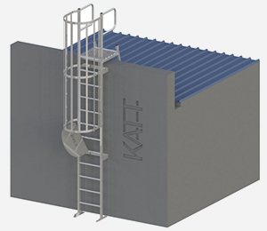 RL42 - Caged access ladder with parapet <span>platform</span>
