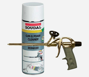 Construction foam applicator gun and cleaner
